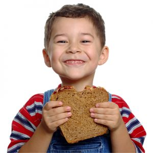 kid eating a sandwich
